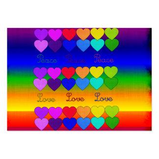 Amor, paz, arco iris tarjetas de visita grandes