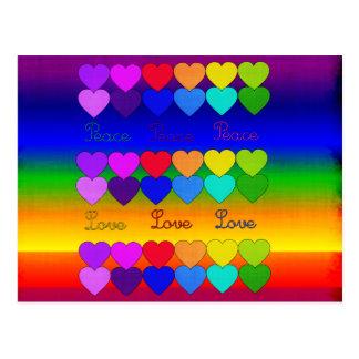 Amor, paz, arco iris postales