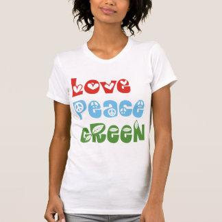 Amor, paz, camisetas verdes