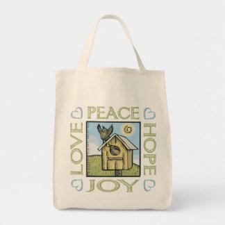 Amor, paz, esperanza, alegría bolsas