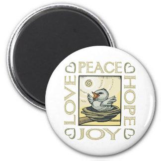Amor, paz, esperanza, alegría iman de nevera