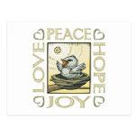 Amor, paz, esperanza, alegría postales