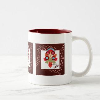 Amor, paz, taza de café de cerámica del arte de
