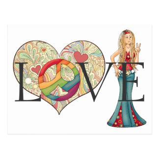 AMOR, paz y chica coloridos del Hippie del corazón Postal