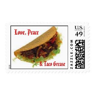 Amor, paz, y grasa del Taco Timbres Postales