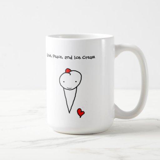 Amor, paz, y helado taza