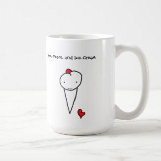 Amor, paz, y helado taza básica blanca