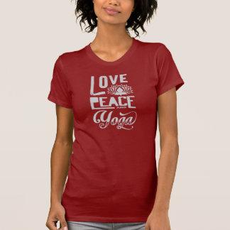Amor, paz y yoga camiseta
