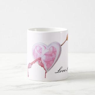Amor pegado taza básica blanca