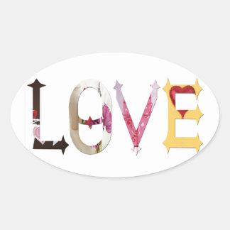 Amor Pegatinas De Óval Personalizadas