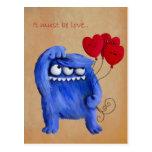 Amor peludo azul con los globos tarjetas postales