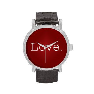 Amor.  Pendiente roja sangre y cita blanca del amo Relojes De Mano