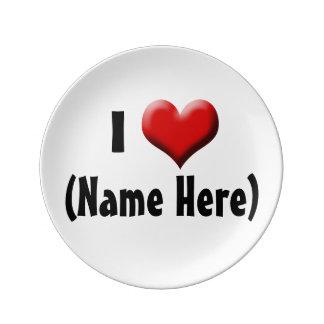 Amor personalizado de I… El día de San Valentín Platos De Cerámica