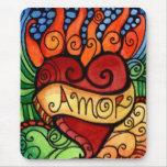 Amor/personalizado llameante Mousepad del corazón