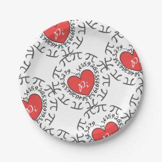 Amor pi 3,14 plato de papel 17,78 cm