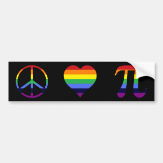 amor pi de la paz del arco iris etiqueta de parachoque