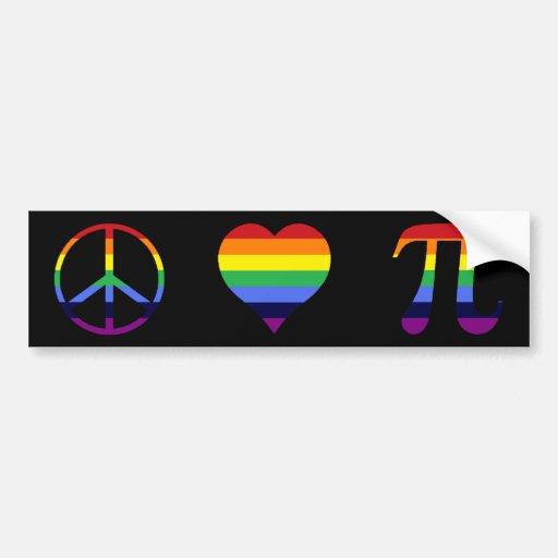amor pi de la paz del arco iris pegatina para auto