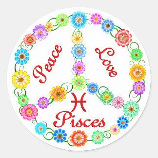 Amor Piscis de la paz Etiquetas Redondas