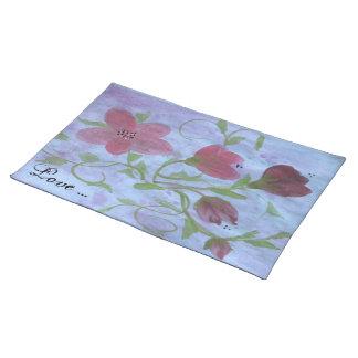 Amor - placemat de la cocina con un diseño floral manteles individuales