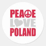 Amor Polonia de la paz Pegatina Redonda