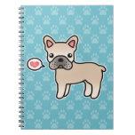 Amor poner crema del dogo francés del dibujo anima libros de apuntes