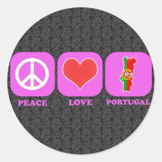 Amor Portugal de la paz Pegatina Redonda