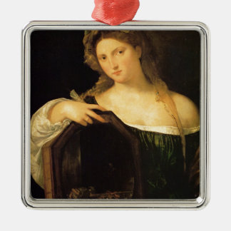 Amor profano por Titian Adorno Cuadrado Plateado