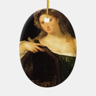 Amor profano por Titian Adorno Ovalado De Cerámica