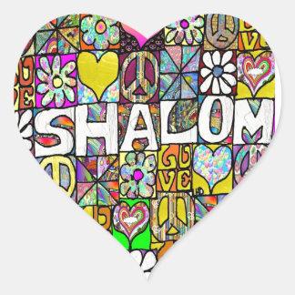 AMOR psicodélico retro de 60s Shalom Pegatina En Forma De Corazón