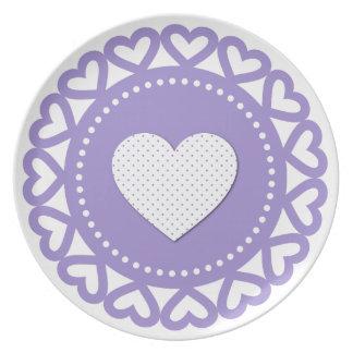 Amor Purple Heart de la tarjeta del día de San Val Plato