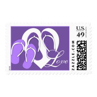 Amor púrpura de la playa de los flips-flopes sello