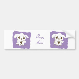 Amor púrpura del perro de perrito pegatina para auto
