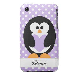 Amor púrpura del pingüino Case-Mate iPhone 3 funda