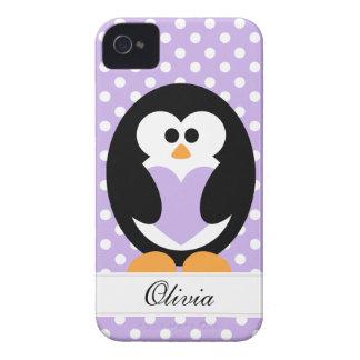 Amor púrpura del pingüino iPhone 4 protector
