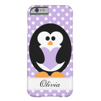 Amor púrpura del pingüino funda de iPhone 6 barely there