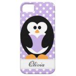Amor púrpura del pingüino iPhone 5 Case-Mate cárcasa