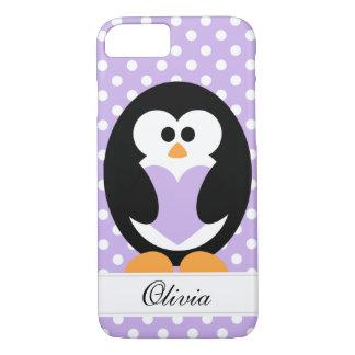 Amor púrpura del pingüino funda iPhone 7