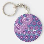 Amor púrpura del recuerdo de la flor y del dril de llavero redondo tipo pin
