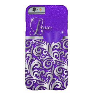 Amor púrpura elegante del brillo funda para iPhone 6 barely there