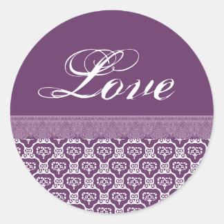 AMOR que casa el cordón púrpura y blanco V07 Etiqueta Redonda