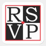 AMOR que casa el sello del sobre de RSVP Calcomania Cuadradas