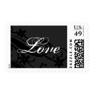Amor que casa la invitación floral blanca negra sello