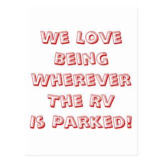 ¡Amor que es dondequiera que se parquee rv! Postal