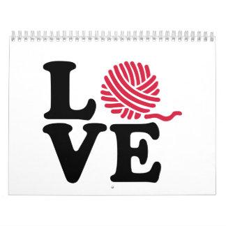 Amor que hace punto de las lanas calendario de pared