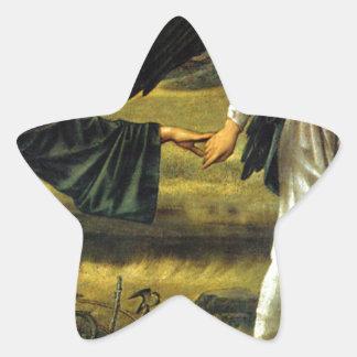 Amor que lleva al peregrino de Edward Burne-Jones Pegatina En Forma De Estrella