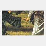 Amor que lleva al peregrino de Edward Burne-Jones Pegatina Rectangular