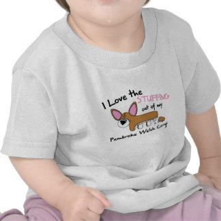 Amor que rellena la camiseta del bebé del Corgi