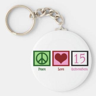 Amor Quinceañera de la paz Llaveros Personalizados