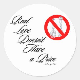 Amor real 3 pegatina redonda