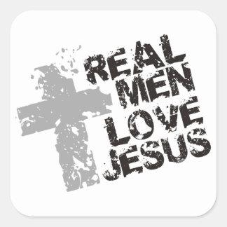 Amor real Jesús de los hombres Pegatina Cuadrada